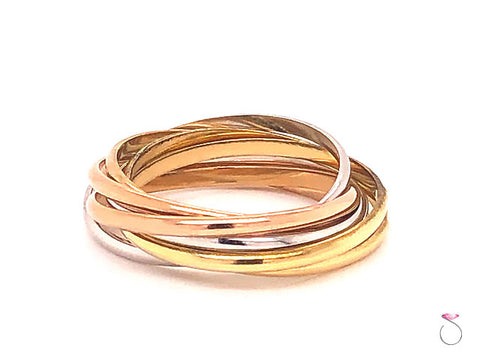 Cartier 18K Trinity Three Tone 7 Band Ring, Size 8