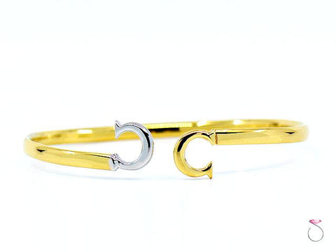 Vintage Cartier Double Logo Cuff Bracelet 18K Yellow & White Gold, Unisex