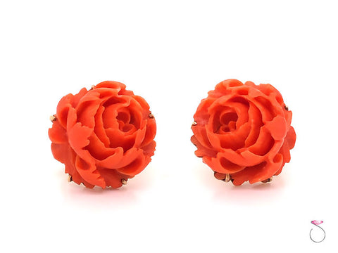 Carved Red Coral Flower Vuntage Earrings in 14K Yellow Gold
