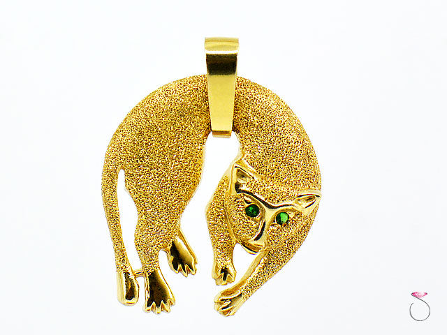Cat Panther 14k Yellow Gold and Emerald Pendant