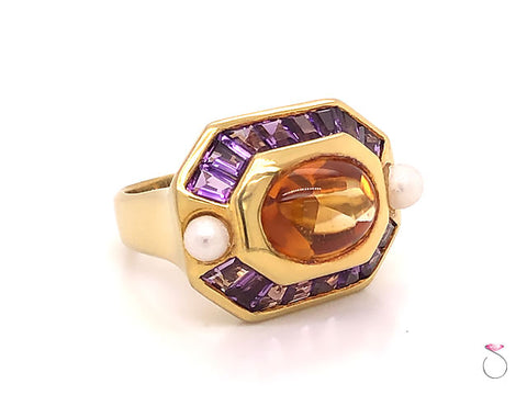 Citrine, Amethyst and Pearl Statement Halo Ring