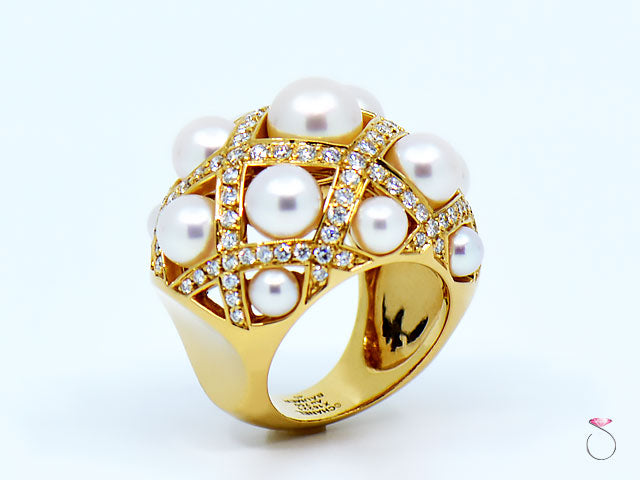 CHANEL Baroque Matelasse' Pearl & Diamond 18K Gold Large Ring