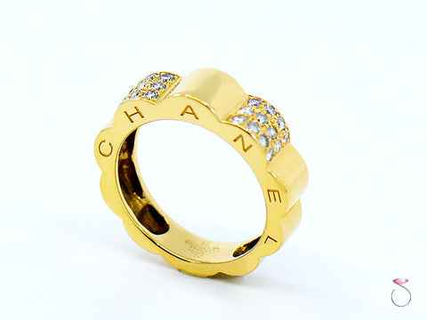 CHANEL Profil De Camellia Diamond 18K Gold Ring Size 50 US Size 5.50