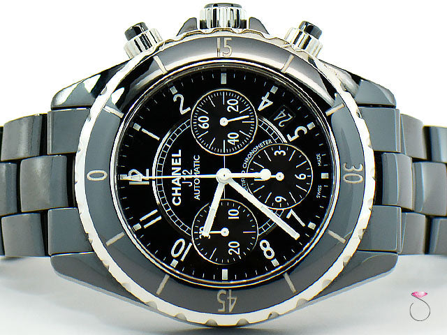 CHANEL J12 41MM CHRONOGRAPH BLACK CERAMIC AUTOMATIC WATCH REF. H0940
