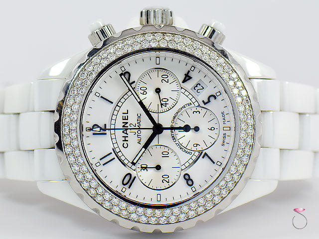 CHANEL J12 41MM CHRONOGRAPH WHITE CERAMIC DIAMOND AUTOMATIC WATCH REF. H1008