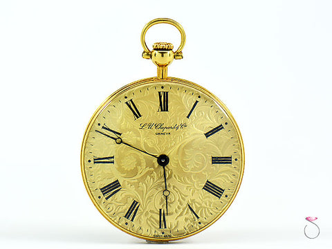 Chopard Beautifully Engraved 18K Gold Pocket Watch Ref. 3004 Circa 1960s