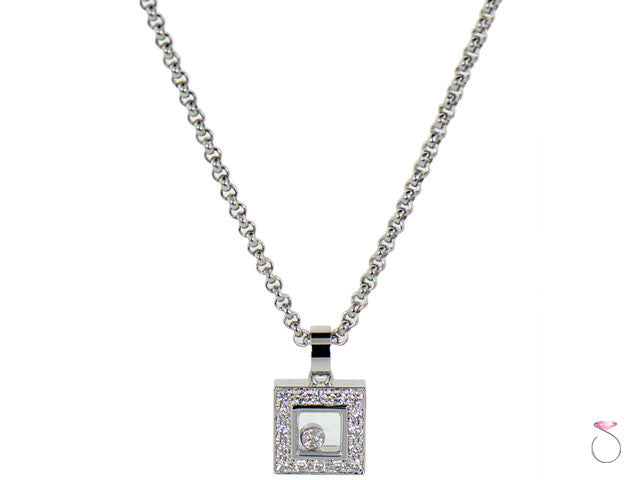 Chopard happy diamonds icons necklace 18k square halo pendant sbej authentic chopard happy diamonds icons necklace sale aloadofball