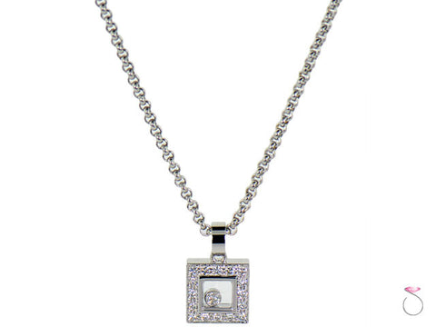 Chopard Happy Diamonds Icons Necklace 18K Square Halo Pendant