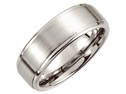 Cobalt 8mm Satin Finish Ridged Band