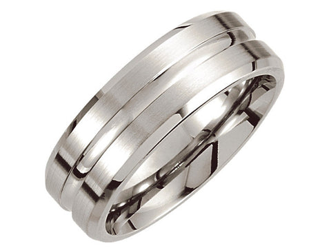 Cobalt 8mm Grooved & Beveled Edge Band