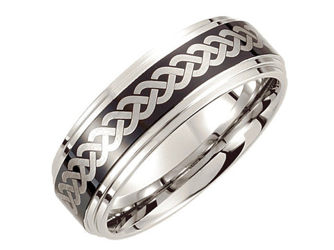 Cobalt 8mm Black Laser Design Ridged Band