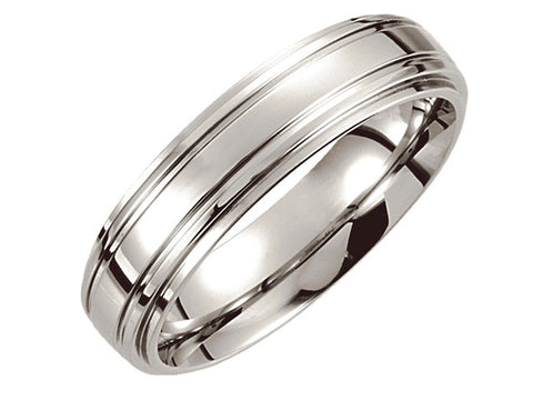 Cobalt 6mm Double Ridged Band
