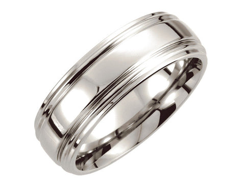 Cobalt 8mm Double Ridged Band