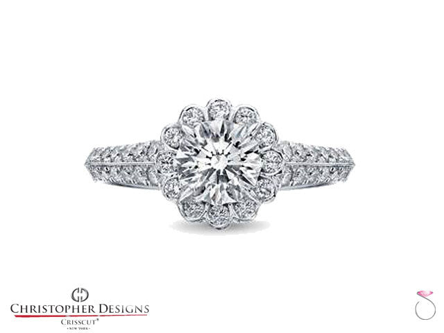 Christopher Designs Flower Halo Engagement ring. Style # D63-RD100