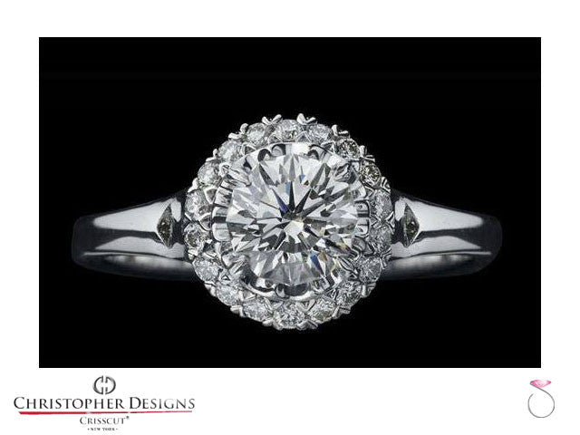 Christopher Designs Fancy Halo Diamond Engagement Ring Style: D76SP-RD100