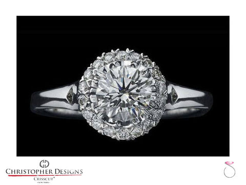 CD Fancy Halo Diamond Engagement Ring D76SP-RD100