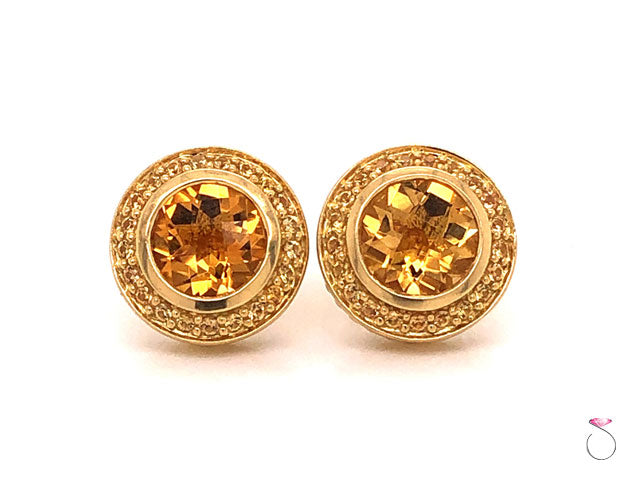 David Yurman Citrine Halo Stud Earrings, 18k Yellow Gold Cable Design