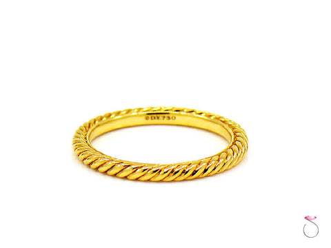 David Yurman 18K Yellow Gold Cable Stackable band