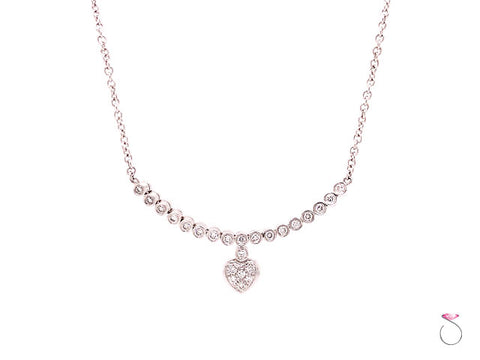 18K White Gold & Diamond Necklace With a Heart Motif On Chain
