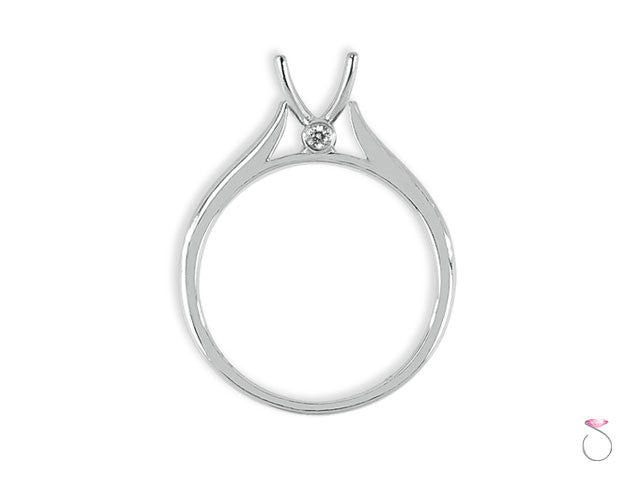 Solitaire Diamond Engagement Ring Setting 18K White Gold