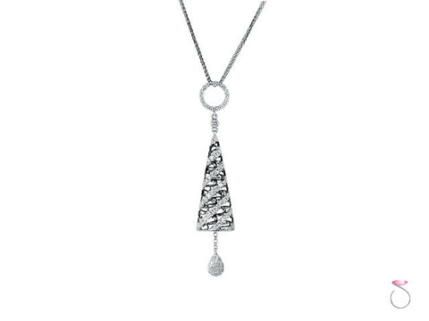 Diamond .53ct 18K White Blackened Gold Dangle Cone Pendant