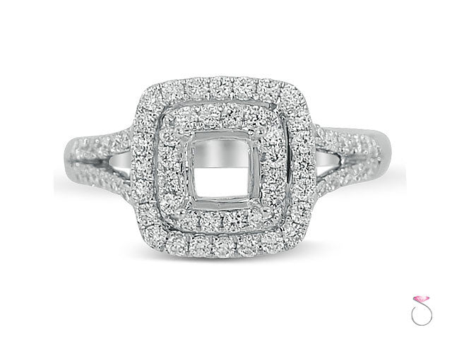 Diamond 0.53ct Cushion Double Halo Engagement Ring Setting in 18K