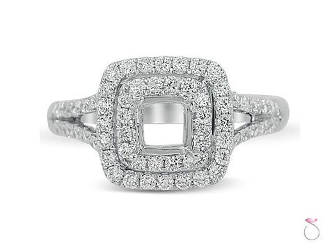 Cushion Double Halo Diamond Engagement Ring Setting in 18K