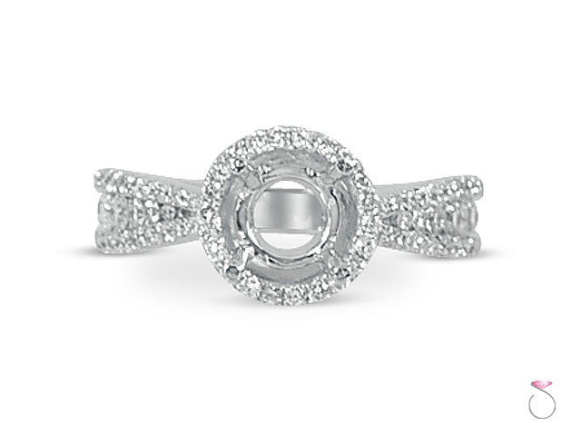 Diamond 0.60ct Round Halo Engagement Ring Setting in 18K