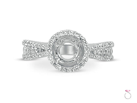 Round Halo Diamond Engagement Ring Setting in 18K
