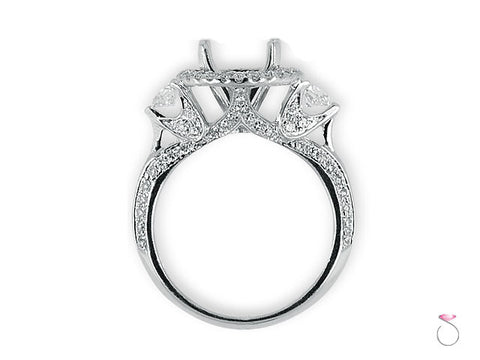 Round Halo Diamond Engagement Ring Setting with 0.87 ct in 18K