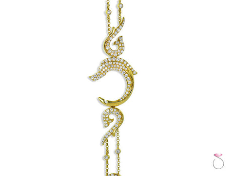 1.69ct Diamond Dolphin Bracelet in 18K Yellow Gold