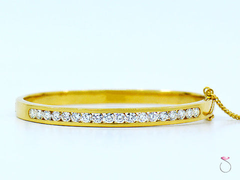 18K Yellow Gold Diamond Bangle Bracelet, 2.17 Ctw.