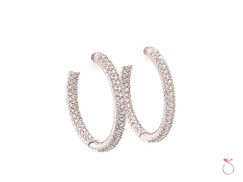 Designer Diamond Pave' 18K Hoop Earrings, 1.50 Carat