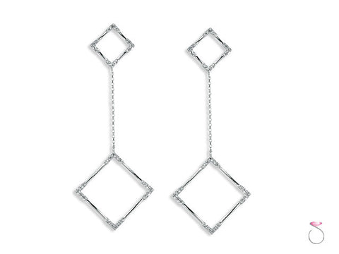 Diamond Square Dangle Earrings in 18K White Gold