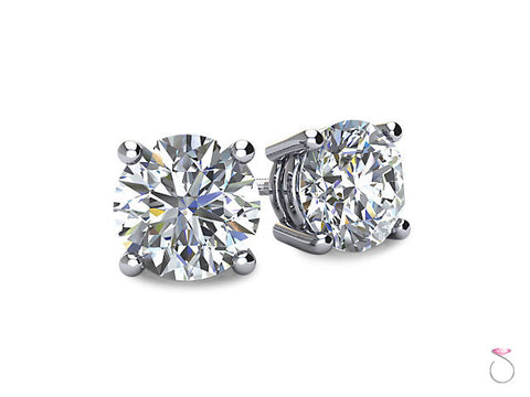 Diamond Solitaire Stud Earrings 1/2ct in 14K White Gold Sale