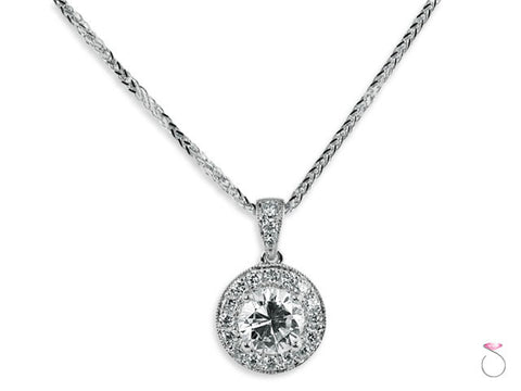 Round Brilliant Diamond Halo Pendant 1.35ctw in 18K White Gold with Chain