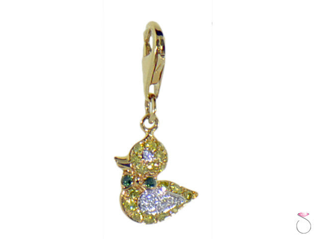 Diamond Yellow Gold Duck Charm Pendant 14K