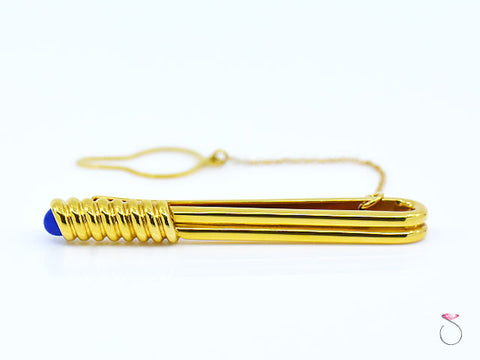 S. T. Dupont 18K Yellow Gold & Lapis Lazuli Tie Pin Bar Clasp