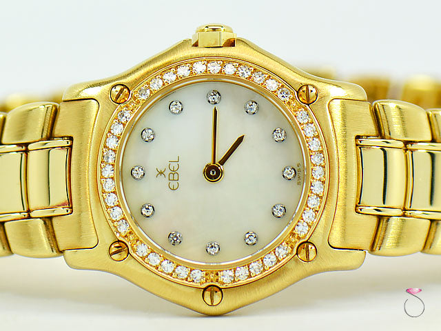 Ebel Mini 18K Yellow Gold Watch With MOP Diamond Dial 23mm Ref. 8057902