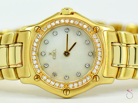 Ebel Mini 18K Yellow Gold Watch With MOP Diamond Dial
