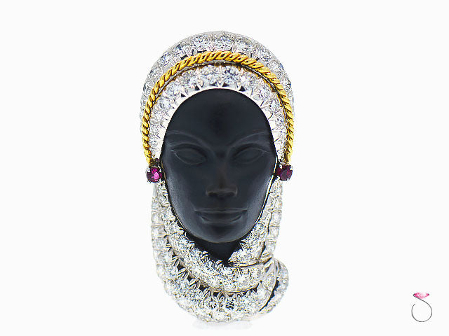 Platinum Veiled Lady Brooch with Diamonds, Rubies and Ebony