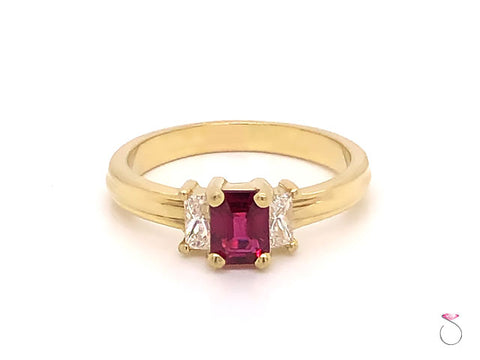 Ruby & Diamond Three Stone Ring in 18K Yellow Gold