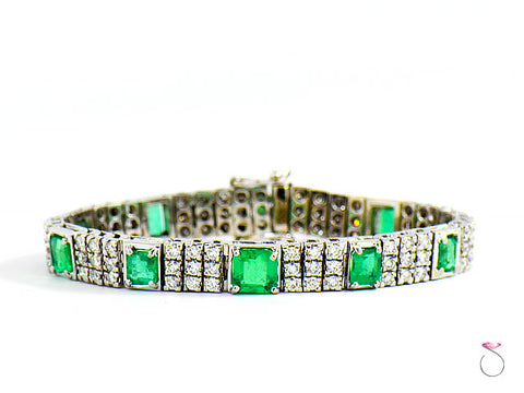 Colombia Emerald & Diamond Tennis Bracelet, 6.57 CTW, DIAMONDS 4.51 CTW