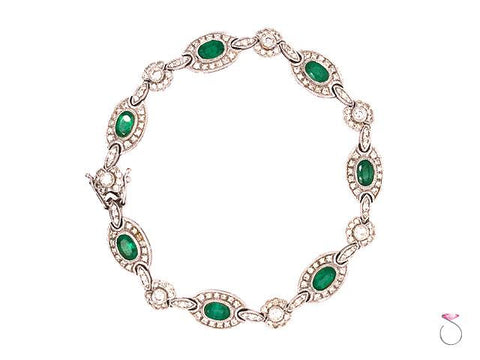 Colombia Emerald & Diamond Halo Tennis Bracelet, in 18K White Gold