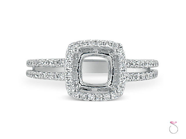 Diamond Cushion Halo Engagement Ring Setting in 18K white gold