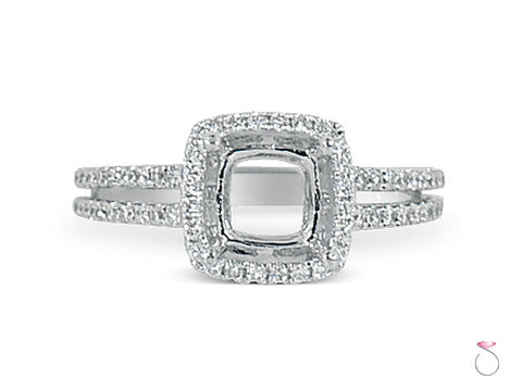 Cushion Diamond Halo Engagement Ring Setting in 18K