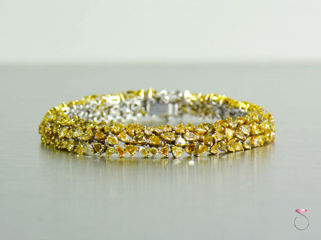 14.25 ct. Fancy Intense Yellow Diamond Bracelet in 18K Gold