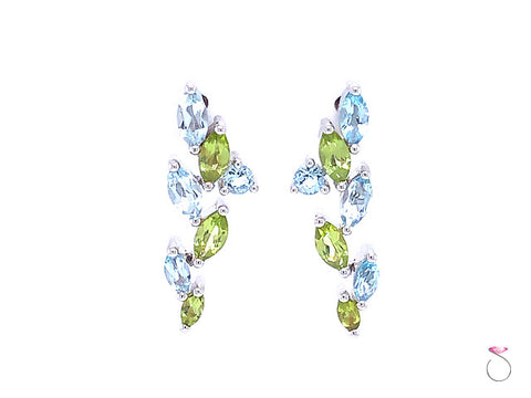 Louis Feraud Aquamarine & Peridot Designer 18k Dangle Earrings