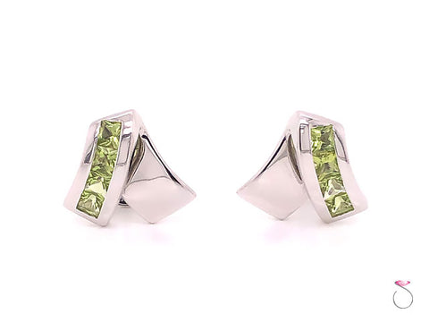 Louis Feraud Peridot Designer 18k Stud Earrings