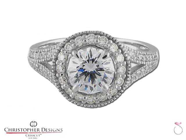 Christopher Designs Crisscut Round Diamond Ring 1.52ctw in 18K